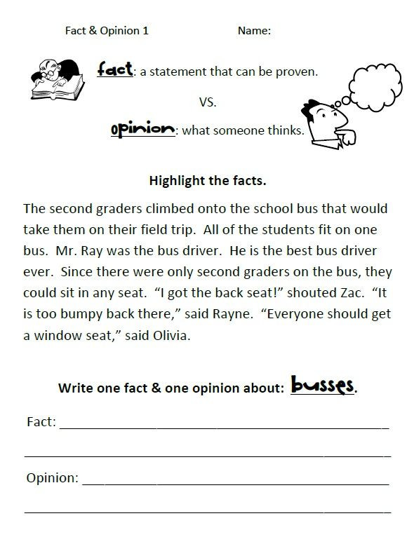 Fact or Opinion Worksheet Simple Fact Vs Opinion Worksheets
