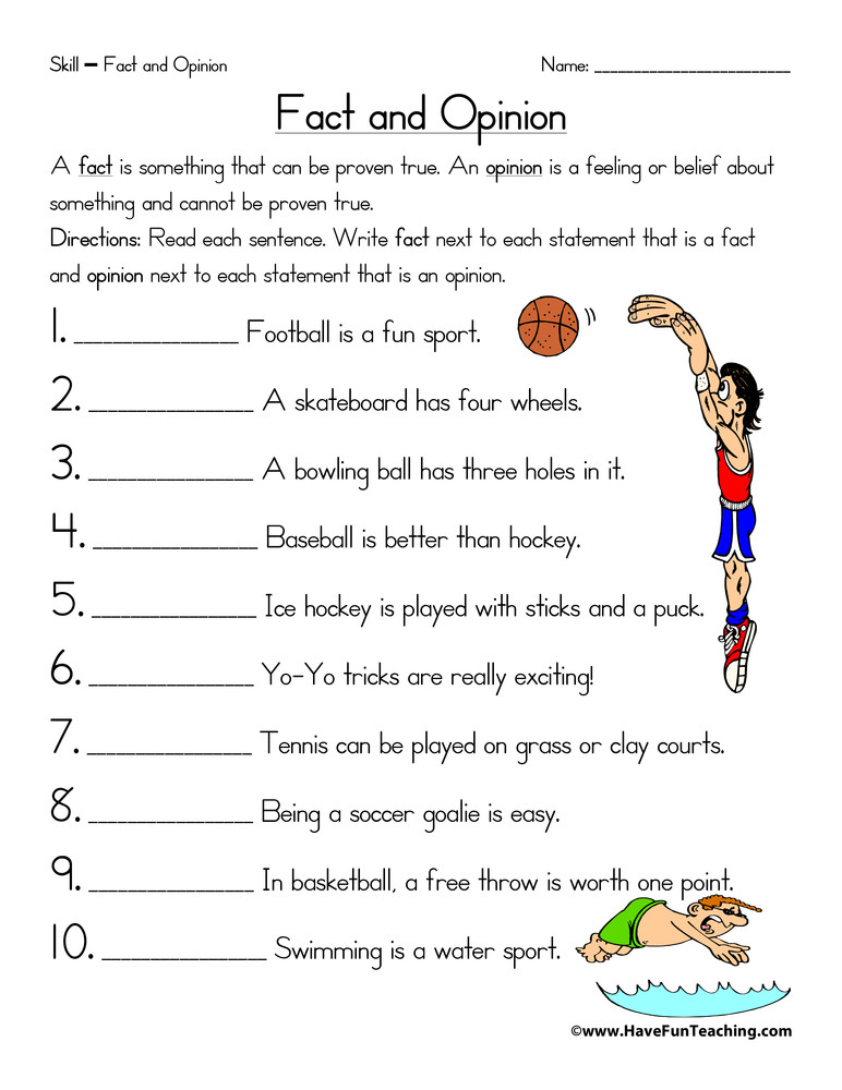 Fact or Opinion Worksheet Sports Fact and Opinion Worksheet