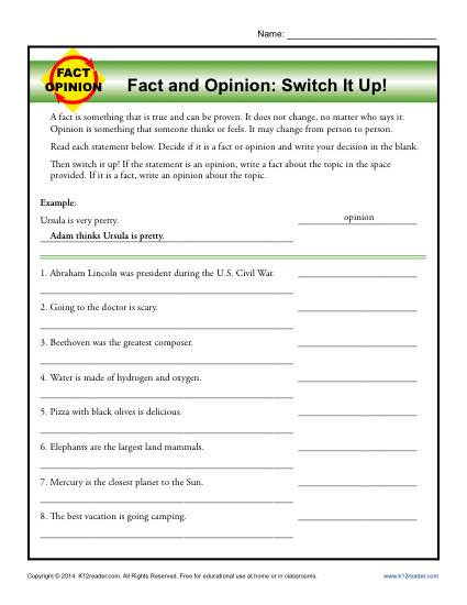 Fact or Opinion Worksheet Switch It Up