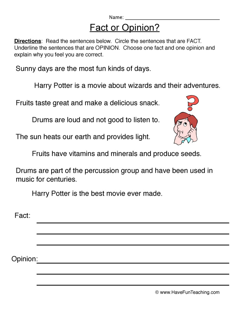 Fact or Opinion Worksheet Write Fact Opinion Worksheet