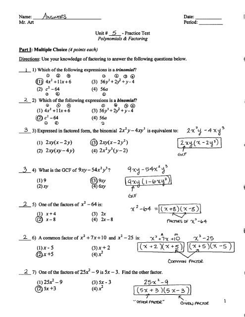 Factoring Polynomials Gcf Worksheet Factoring Practice Test Answers Pdf