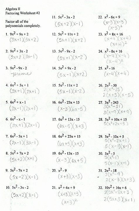 Factoring Worksheet with Answers 50 Factoring Trinomials Worksheet Answers In 2020