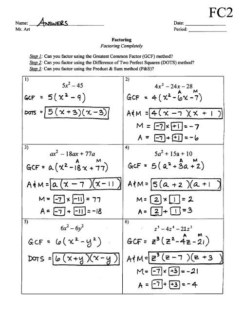 Factoring Worksheet with Answers Factoring Pletely Worksheet Fc2 Answers Pdf
