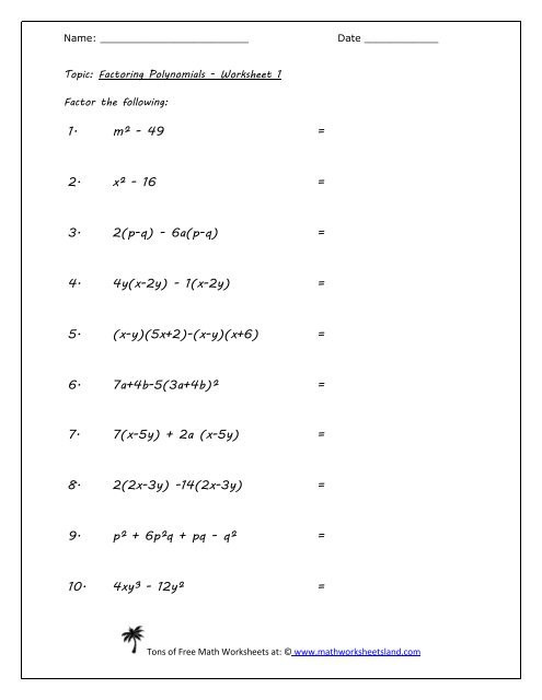Factoring Worksheet with Answers Factoring Polynomials Five Worksheet Pack Math Worksheets Land