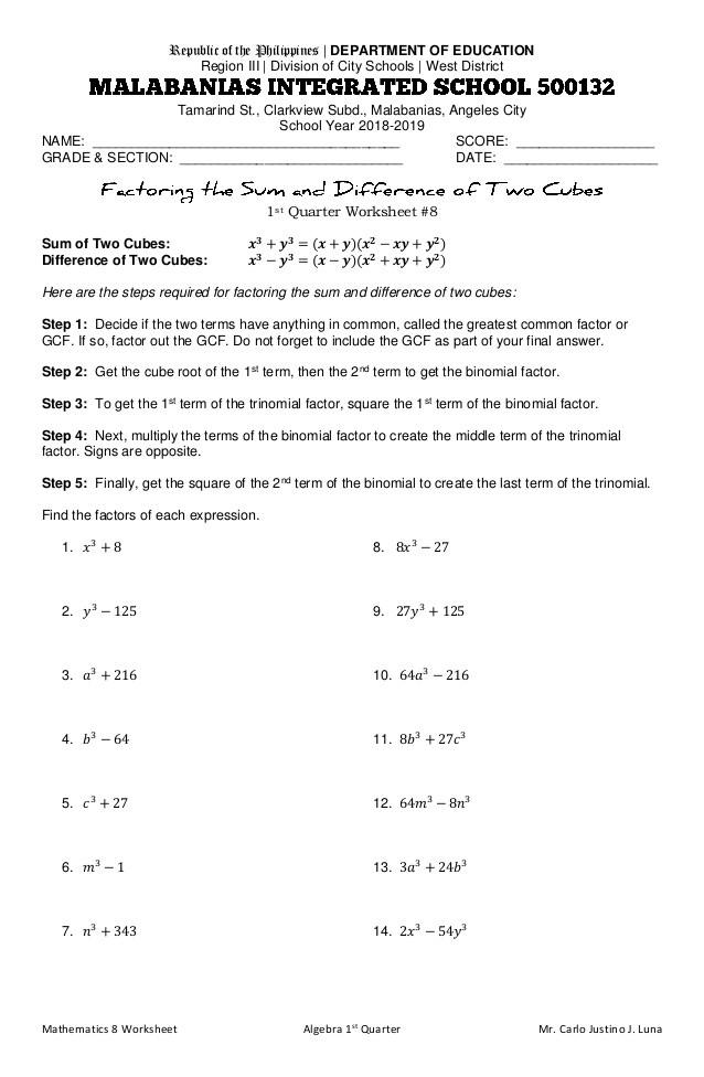 Factoring Worksheet with Answers Factoring the Sum and Difference Of Two Cubes Worksheet