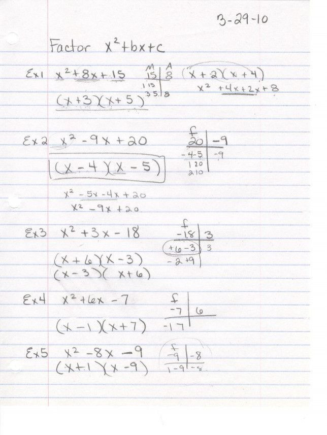 Factoring X2 Bx C Worksheet 35 Factoring Trinomials the form X2 Bx C Worksheet