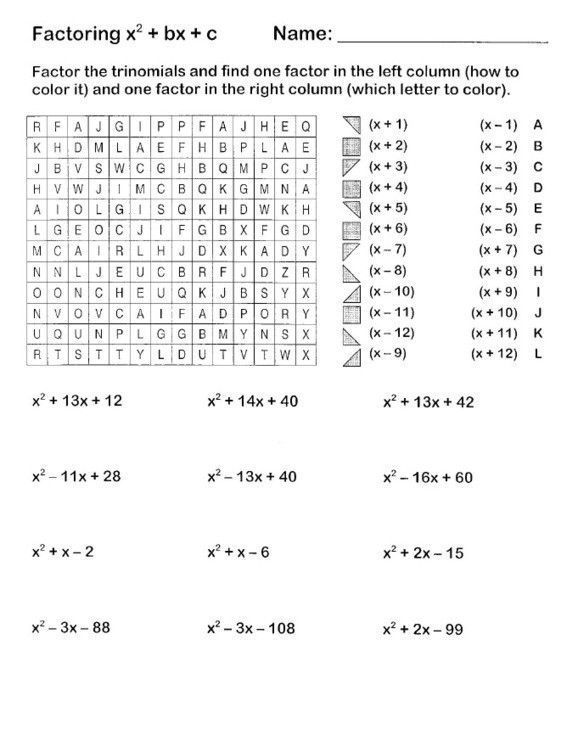 Factoring X2 Bx C Worksheet Lesson 8 1 solving Equations by Factoring X2 Bx C Answers