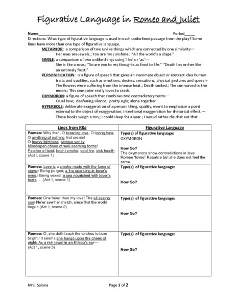 Figurative Language Review Worksheet Figurative Language In Romeo and Juliet Graphic organizer