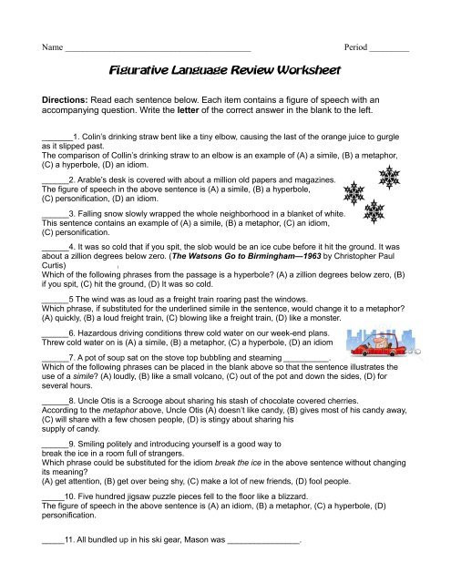 Figurative Language Review Worksheet Figurative Language Review Worksheet Reeths Puffer Schools