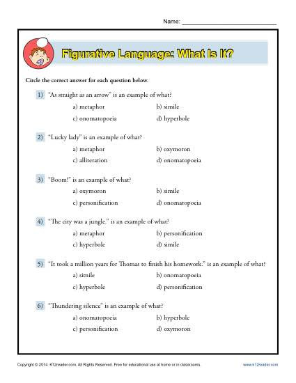 Figurative Language Review Worksheet Figurative Language What is It