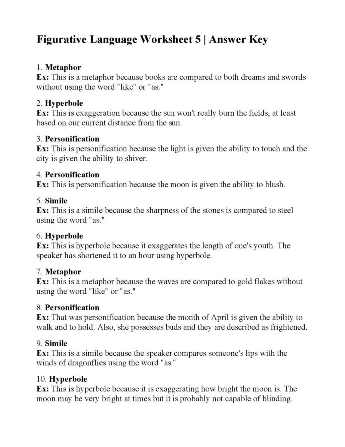 Figurative Language Review Worksheet Figurative Language Worksheet Answers Ereading Worksheets