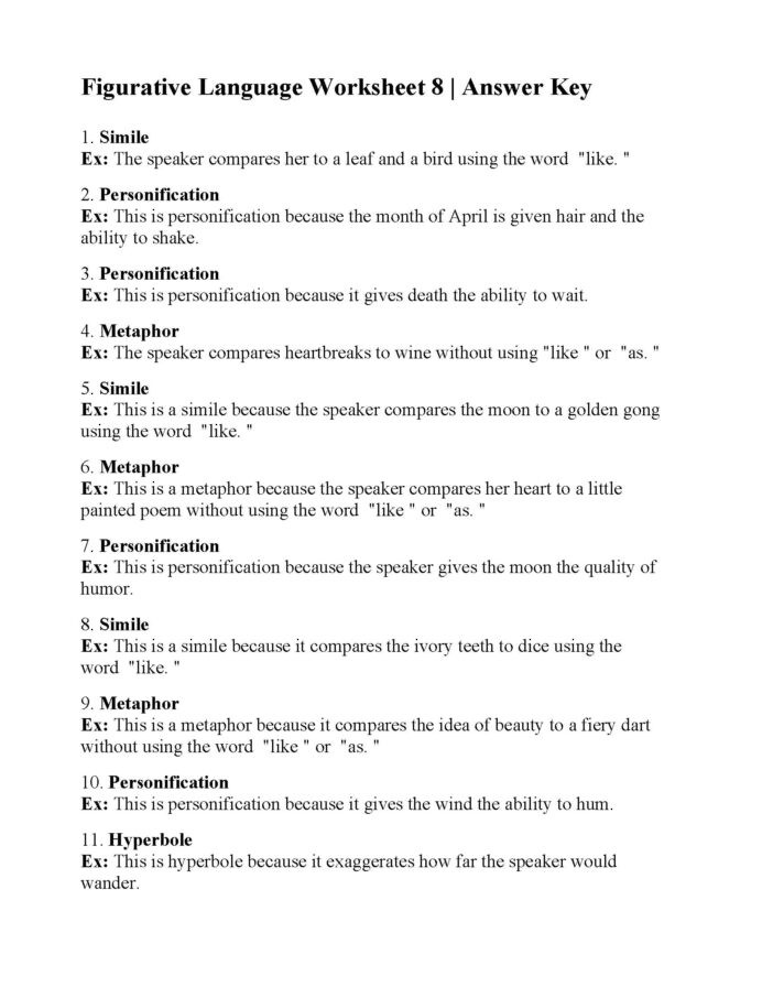 Figurative Language Review Worksheet Figurative Language Worksheet Answers Printable Worksheets