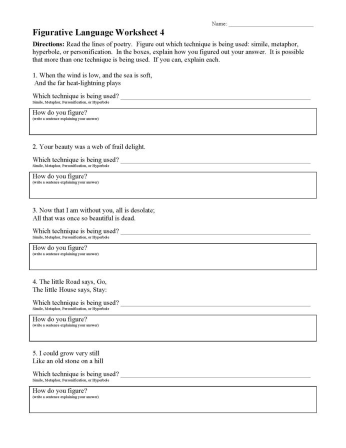 Figurative Language Review Worksheet Figurative Language Worksheet Preview Ereading Worksheets