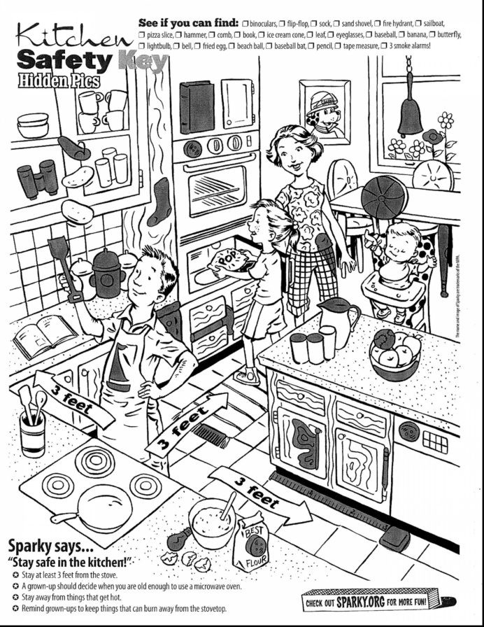 Fire Safety Worksheets Preschool Kitchen Safety for Kids Coloring Printable Road Worksheets