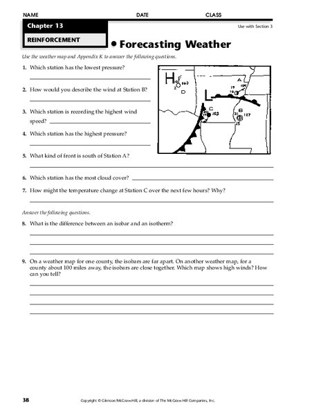Forecasting Weather Map Worksheet 1 forecasting Weather Worksheet for 6th 8th Grade