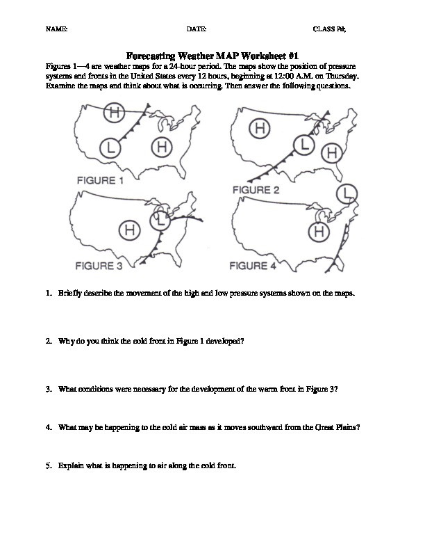 Forecasting Weather Map Worksheet 1 Ws forecasting Weather Map 1 5 [d49ooy01x149]