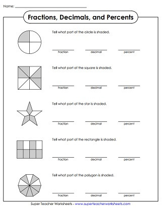 Fraction Decimal Percent Worksheet Pdf Percent Worksheets