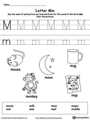 Free Letter M Worksheets Words Starting with Letter M