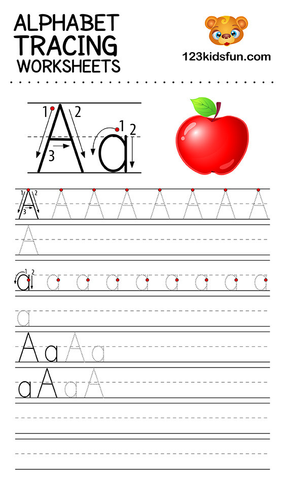 Free Letter Tracing Worksheets Pdf Alphabet Tracing Worksheets A Z Free Printable for Kids