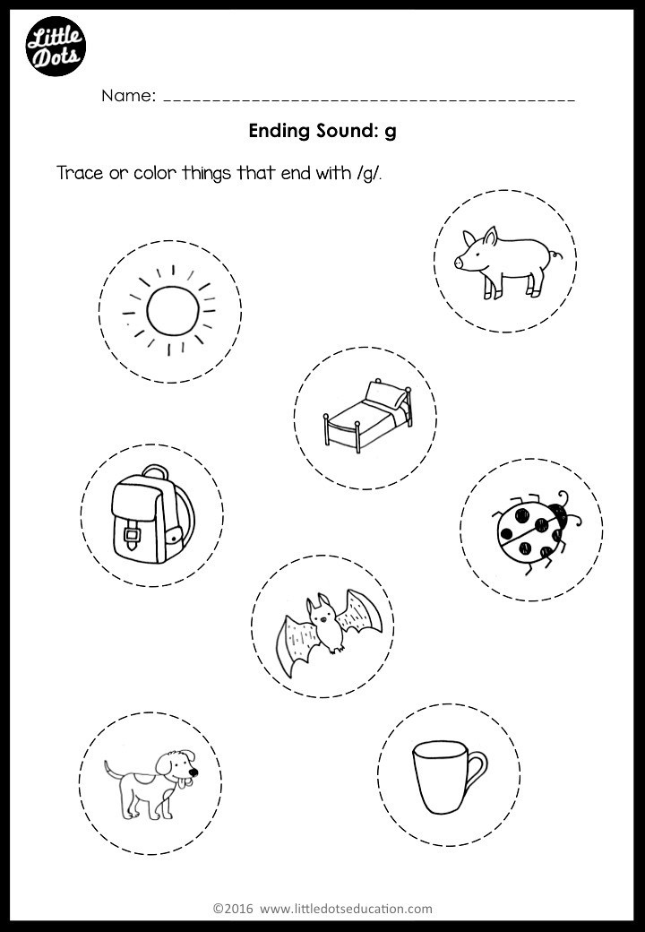 G Worksheets for Preschool Ending sounds Worksheets and Activities