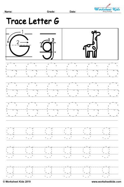 G Worksheets for Preschool Letter G Alphabet Tracing Worksheets Free Printable Pdf