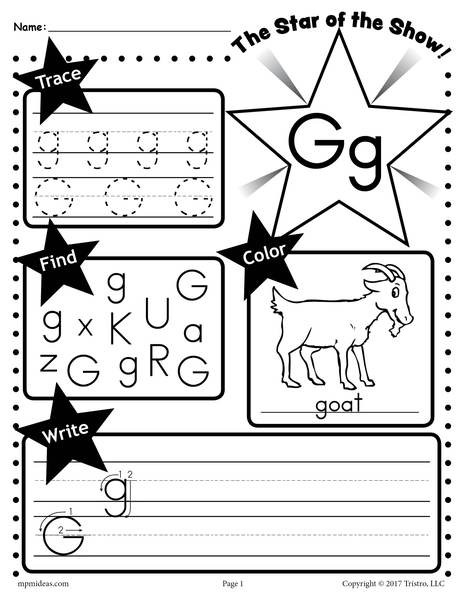 G Worksheets for Preschool Letter G Worksheet Tracing Coloring Writing & More