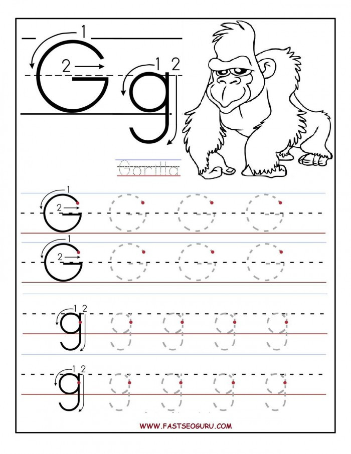 G Worksheets for Preschool Tracing Letters G Worksheets