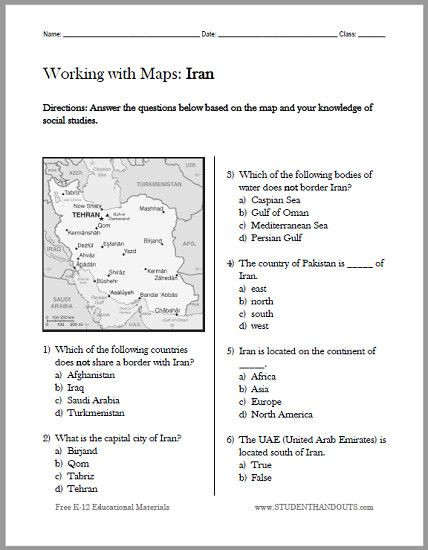 Geography Worksheets Middle School Pdf Iran Map Worksheet Free to Print Pdf File Designed for
