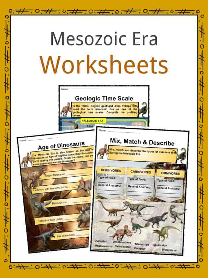 Geological Time Scale Worksheet Mesozoic Era Age Dinosaurs Facts Worksheets & History