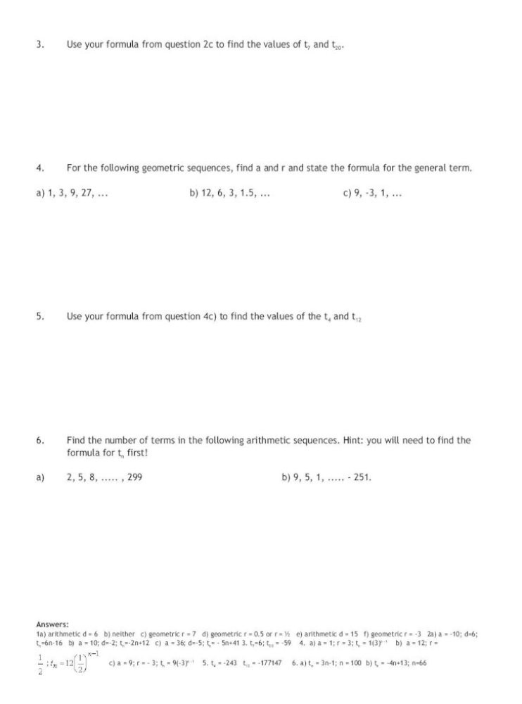 Geometric and Arithmetic Sequences Worksheet Arithmetic and Geometric Sequences N = T Date