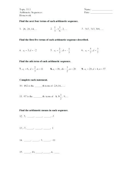 Geometric and Arithmetic Sequences Worksheet Arithmetic and Geometric Sequences Worksheet Answers