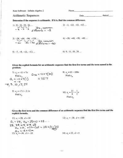 Geometric and Arithmetic Sequences Worksheet Arithmetic Sequences and Series Worksheet Notes Cobb Learning
