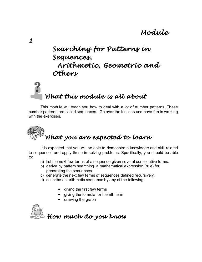 Geometric and Arithmetic Sequences Worksheet Grade 10 Math Module 1 Searching for Patterns Sequence and