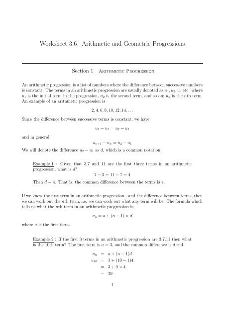 Geometric and Arithmetic Sequences Worksheet Worksheet 3 6 Arithmetic and Geometric Progressions