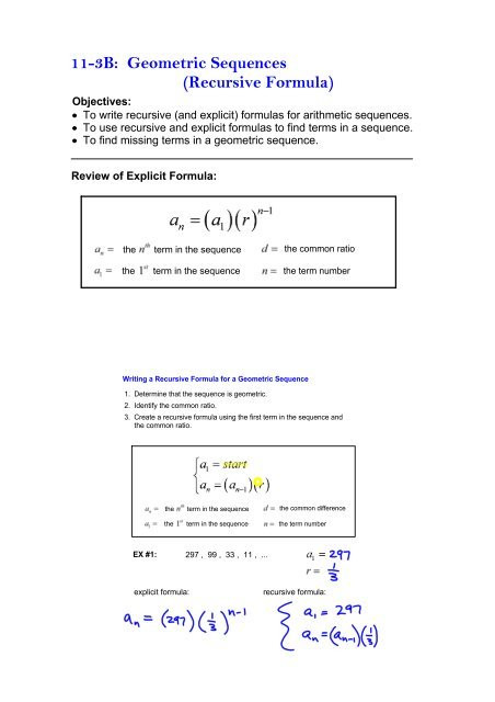 Geometric Sequence Practice Worksheet 113b Geometric Sequences Recursive formula