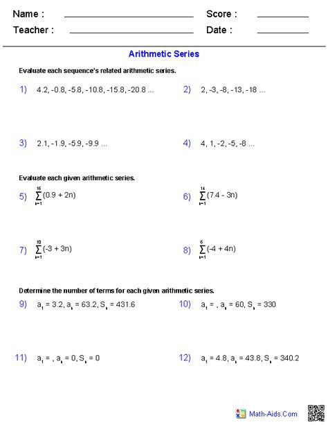Geometric Sequence Practice Worksheet Algebra 2 Worksheets