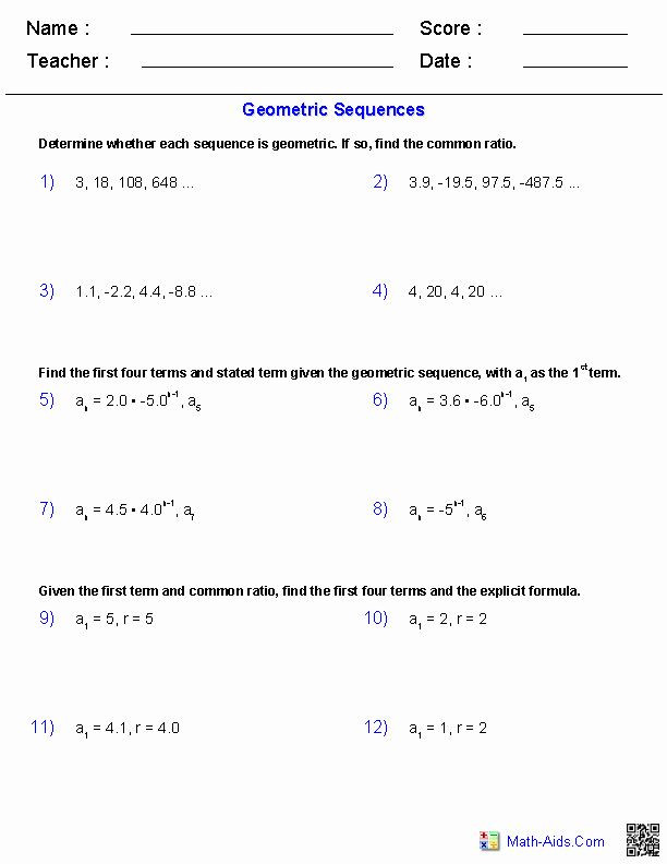 Geometric Sequence Practice Worksheet Pin On Customize Design Worksheet Line