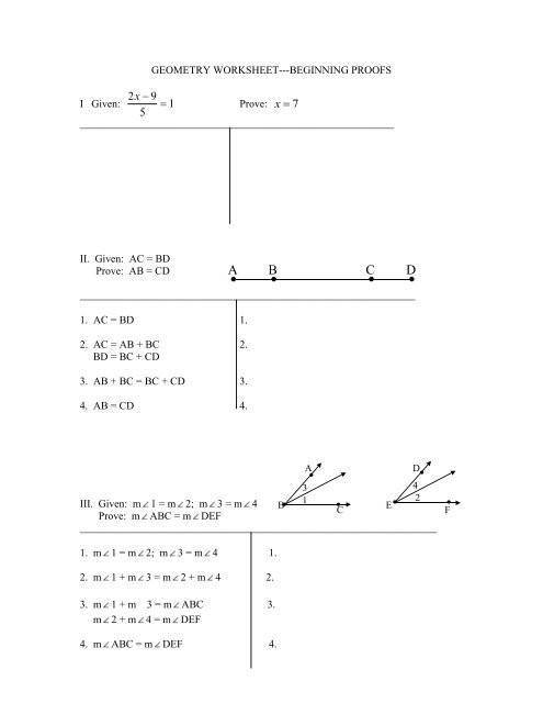 Geometry Worksheet Beginning Proofs Answers Proofs Review Ws