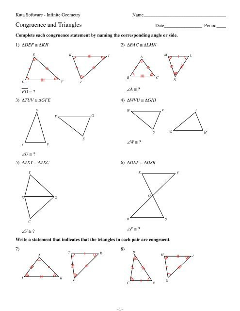 Geometry Worksheet Congruent Triangles Answers 4 Congruence and Triangles Kuta software