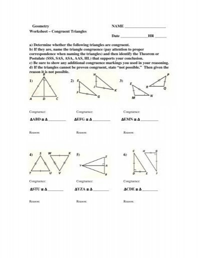 Geometry Worksheet Congruent Triangles Answers Worksheet Congruent Triangles