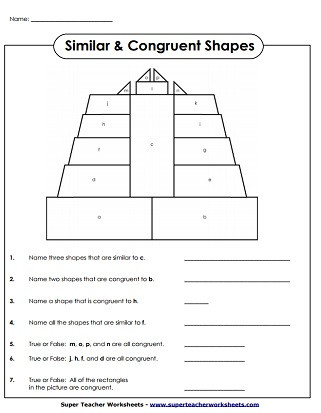 Geometry Worksheet Congruent Triangles Geometry Worksheets Congruent and Similar Shapes