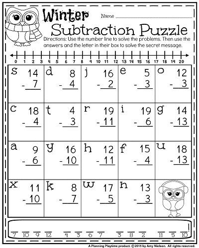 Get the Message Math Worksheet 1st Grade Worksheets for January