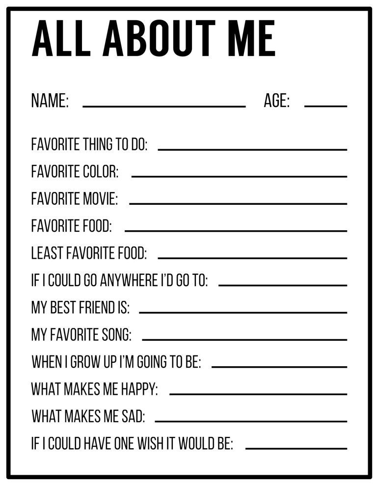 Getting to Know You Worksheet All About Me Printables Interview Template