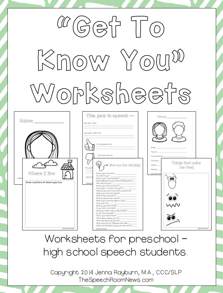 Getting to Know You Worksheet Get to Know You Packets for Speech therapy Speech Room News