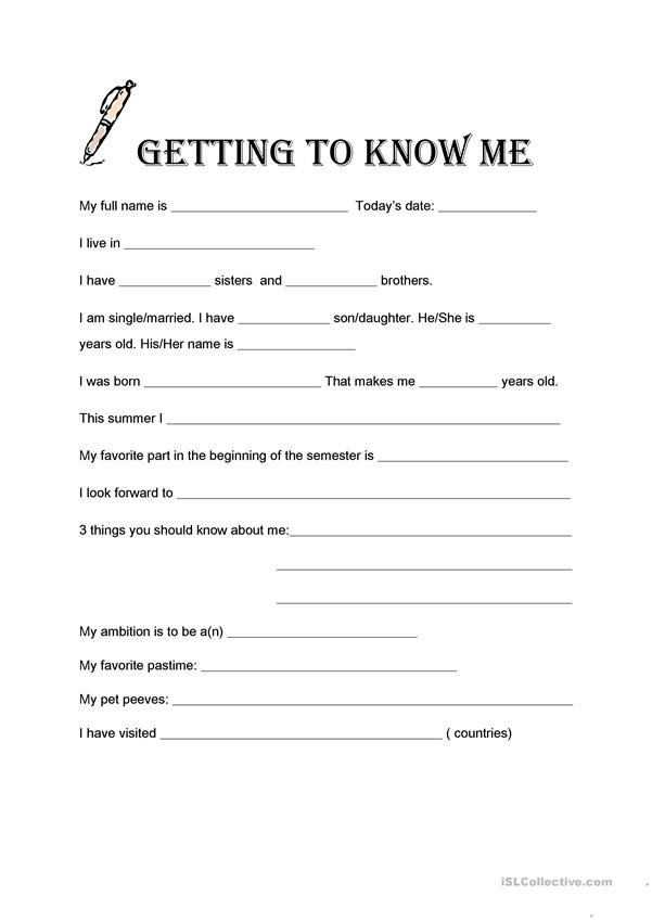Getting to Know You Worksheet Getting to Know Me English Esl Worksheets for Distance