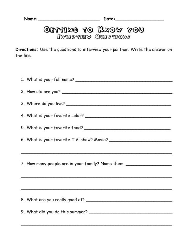 Getting to Know You Worksheet Getting to Know You Interview Questions Worksheet for 3rd