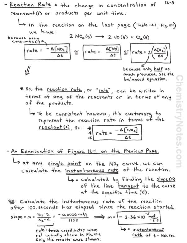 Gibbs Free Energy Worksheet Chemical Kinetics Notes Reaction Rates and Rate Laws