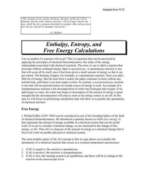 Gibbs Free Energy Worksheet Enthalpy Entropy and Free Energy Calculations