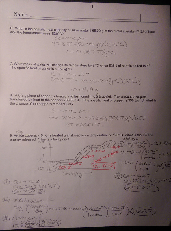 Gibbs Free Energy Worksheet Unit 9 thermochemistry Mrs Strelow S Science Class