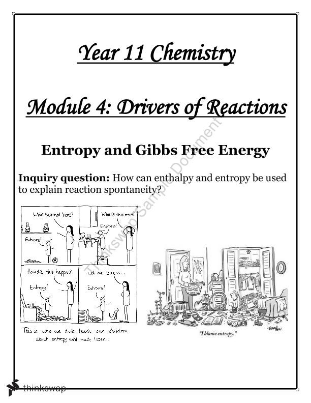 Gibbs Free Energy Worksheet Yr 11 Chem Module 4 Drivers Of Reaction Entropy and Gibbs